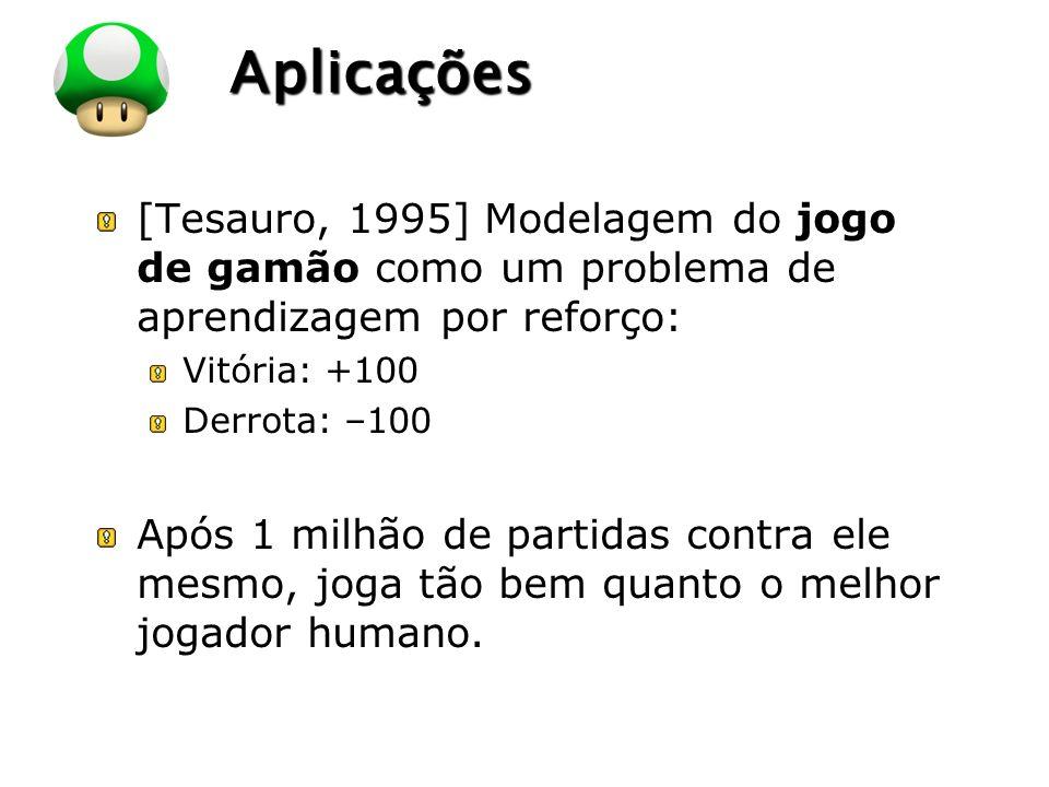 Aplicações [Tesauro, 1995] Modelagem do jogo de gamão como um problema de aprendizagem por reforço: